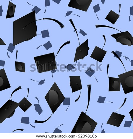 Seamless mortarboard background - raster - stock photo