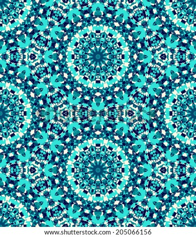 Seamless mosaic pattern based on polygons. Can be used as decoration for the gift boxes, wallpapers, backgrounds, web sites. Geometrical abstract ornament with the stars, gems. Water theme. Eco design - stock photo