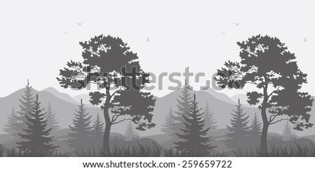 Seamless, mountain landscape with pines, conifer trees, birds and grass, gray silhouettes.  - stock photo