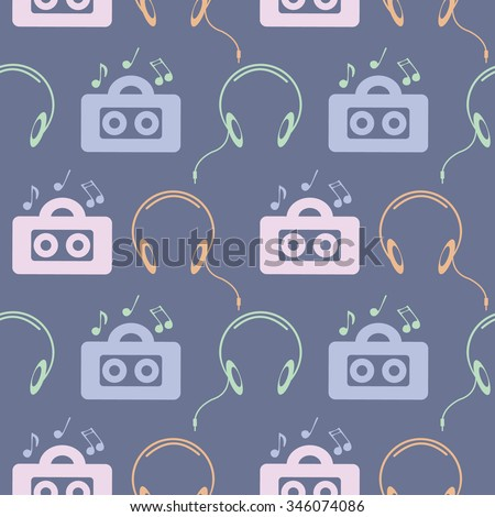 Seamless music raster pattern, symmetrical background with colorful music player, headphones and notes, over blue backdrop