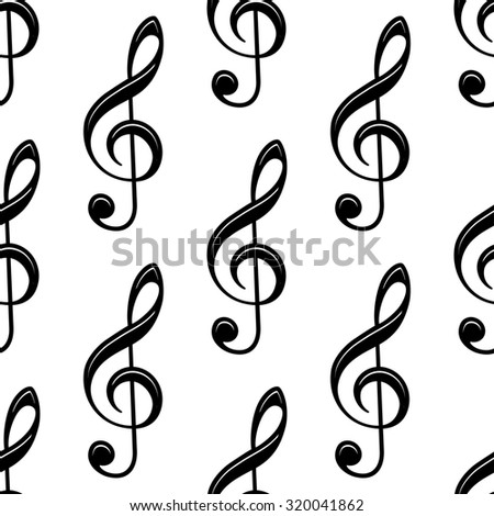 Seamless musical treble clef icon pattern for musical and art design - stock photo