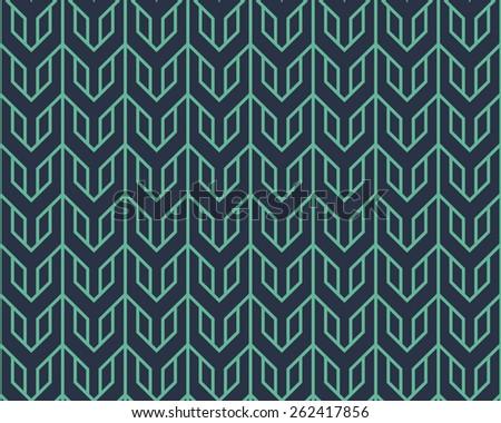 Seamless neon blue overlocking tribal pattern - stock photo