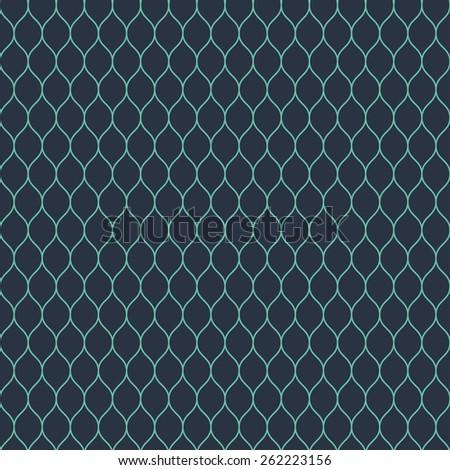 Seamless neon blue woven pattern - stock photo