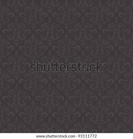 Seamless old wallpaper pattern - grey - stock photo