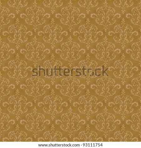 Seamless old wallpaper pattern - sepia - stock photo