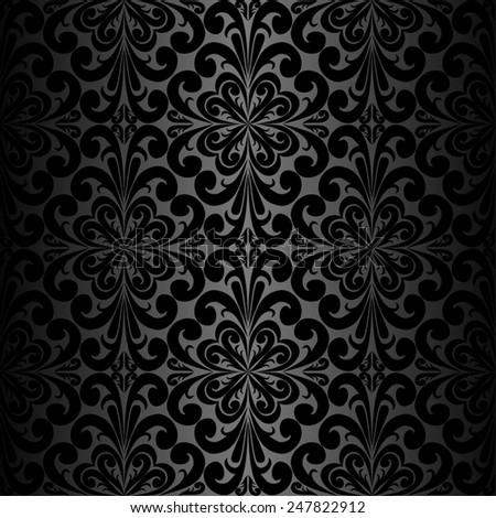 Seamless ornamental black Wallpaper. Raster version. - stock photo