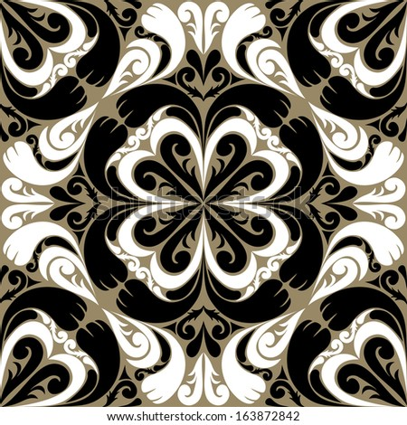 Seamless ornamental Pattern with black-white Ornament. Raster version. - stock photo
