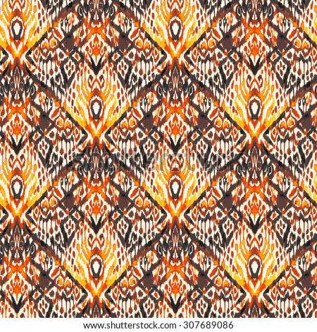 seamless ornamental tribal ethnic pattern. ikat leaking vertical direction design, beautiful detailed ornaments. earth colors.  - stock photo