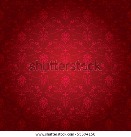 Seamless ornamental wallpaper, floral pattern, illustration - stock photo