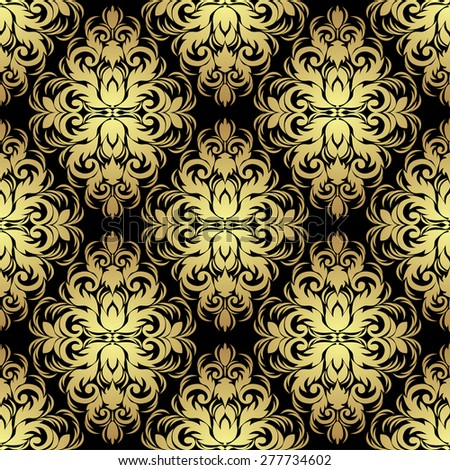 Seamless ornate floral Wallpaper: gold on black. Raster version. - stock photo
