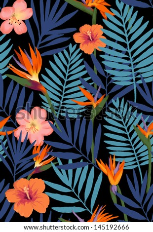 seamless painterly tropical flowers for high fashion, watercolor  bird of paradise flowers background - stock photo