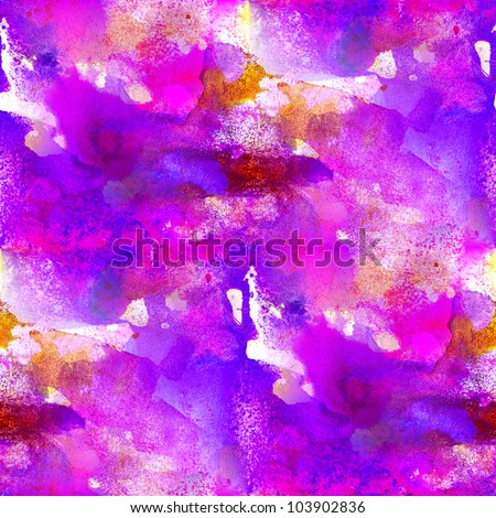 seamless painting purple blue pink watercolor with bright brushstrokes and blotches - stock photo