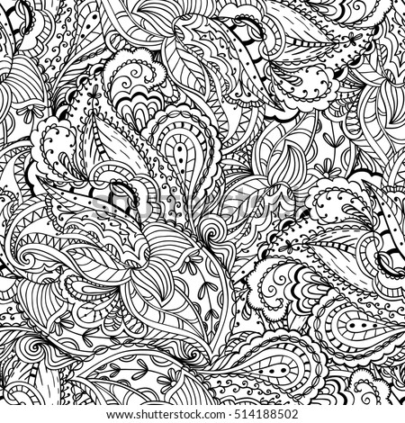 Seamless Paisley Pattern Coloring Page Ornamental Background Doodle Motif