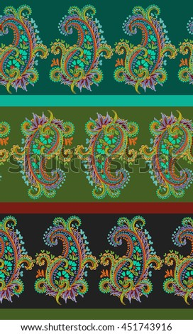 seamless paisley pattern in green and earth colors. delicate ornamental hand drawn artistic paisleys, lace look. - stock photo