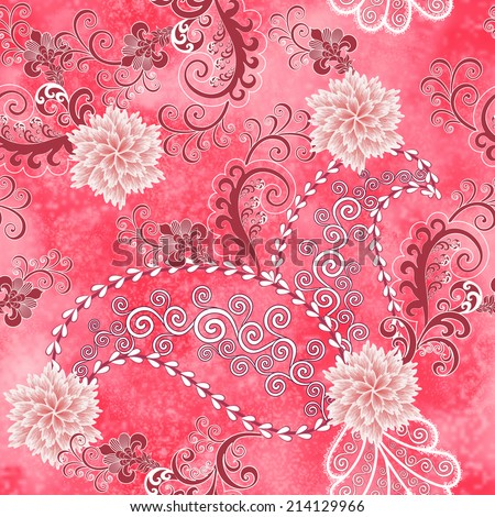 seamless paisley pattern with light pink carnations and curls - on pink blurred background