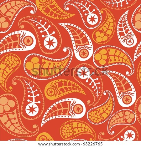 Seamless paisley texture with flowers for your design.