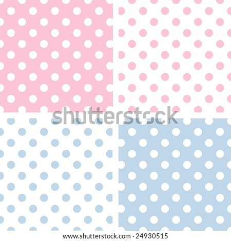 Seamless Pastel Pattern Tiles. Large White Polka Dots on Baby Pink and Baby Blue Backgrounds with Reverse. - stock photo