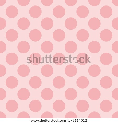 Seamless pastel pattern with dark pink polka dots on a sweet baby pink background. For kids website design or desktop wallpaper - stock photo