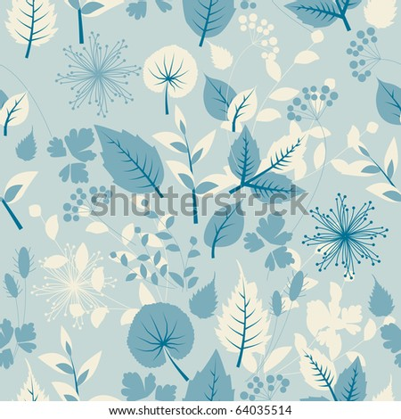 Seamless pastel  pattern with leaves. Raster version. Vector version is in my gallery. - stock photo