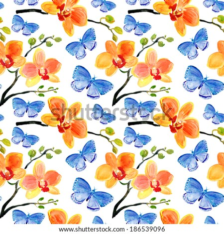 Seamless patter with Orchids flowers and butterflies, watercolor illustration - stock photo