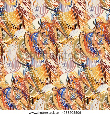 Seamless pattern - abstract multicolour painting background. - stock photo