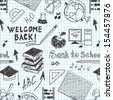 seamless pattern back to school in a notebook raster image - stock