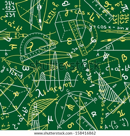 Seamless pattern background - illustration of mathematics drawings, doodle style - stock photo