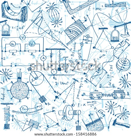 Seamless pattern background - illustration of physics drawings, doodle style - stock photo