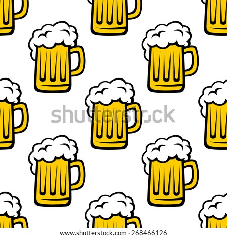 Seamless pattern background of tankards filled with golden lager or beer with white frothy heads - stock photo