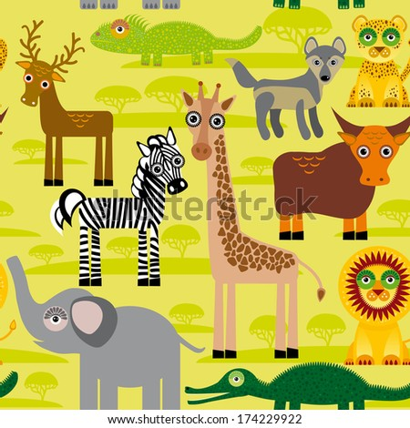 Seamless pattern background with African animals.  - stock photo