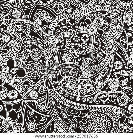 Seamless pattern based on traditional Asian elements Paisley - stock photo