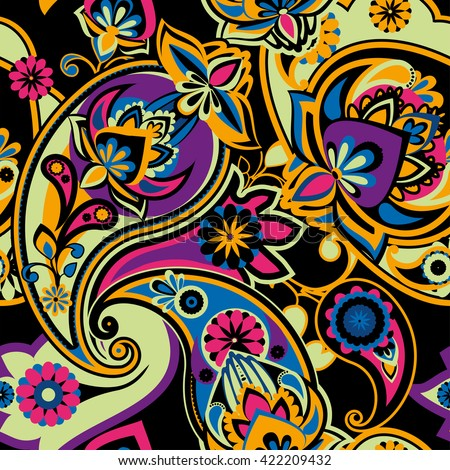 Seamless pattern based on traditional Asian elements Paisley. Bright colors: purple, yellow, blue and pink on a black background. - stock photo