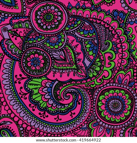 Seamless pattern based on traditional Asian elements Paisley. Neon pink. - stock photo
