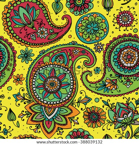 Seamless pattern based on traditional Asian elements Paisley. Yellow, pink, blue. - stock photo