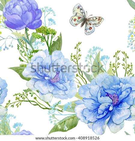 seamless pattern, beautiful colors and the butterfly.pattern for fabric,Wallpaper.drawing hands watercolor   - stock photo