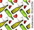 Seamless pattern - Bottles and glasses over white background - stock photo