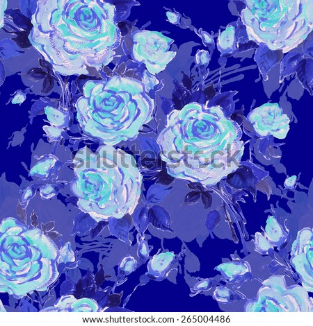Seamless pattern bouquet of bright blue roses. Beautiful pattern of motif handmade paint on paper. Vintage decor. Making any printed products.  Original background for design and decor - stock photo