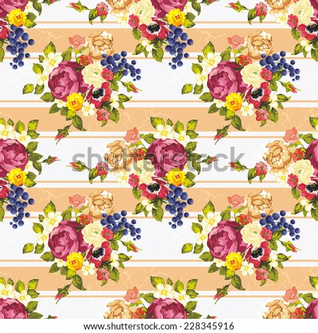 Seamless pattern bouquet of peonies. Beautiful flower illustration texture - stock photo