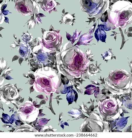 Seamless pattern bouquets of roses E - stock photo