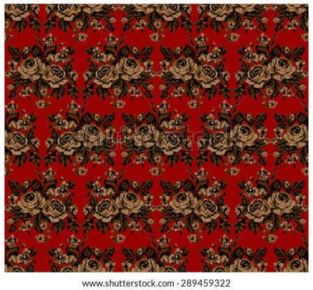 Seamless. Pattern.Brown bouquet of flowers (roses and cornflowers) on the red background using traditional Ukrainian embroidery elements.  Can be used as pixel-art. - stock photo