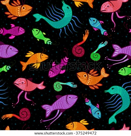 seamless pattern - colorful fantasy fish on black background - stock photo