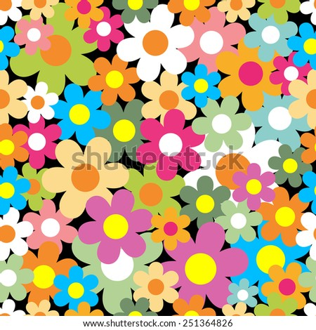 Seamless pattern. Colorful flower background. - stock photo