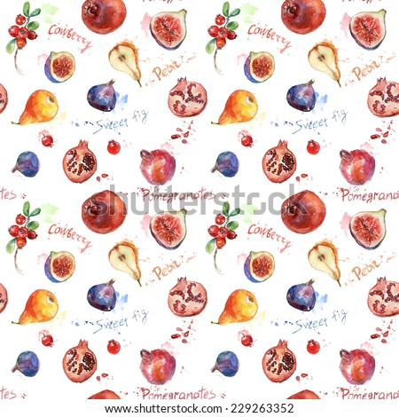 Seamless pattern. Colorful watercolor fruit. Set of fig, pomegranate, cranberry, blueberry, pear. Can be used for pattern fills, wallpapers,texture of fabric, surface textures. - stock photo