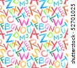 Seamless pattern - Crayon letters over white background - stock photo
