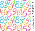Seamless pattern - Crayon numbers over white background - stock photo