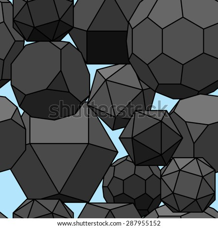 Seamless pattern 3d geometric shapes. Rasterized version. - stock photo
