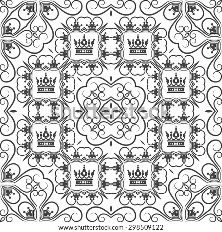 Seamless pattern. Damask. Retro wallpaper background. Elegant pattern for Your design. Classic style. Black and white