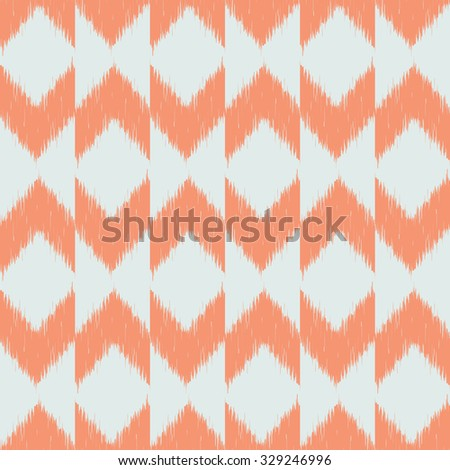 Seamless pattern design with chevron ikat repeating ornaments - stock photo
