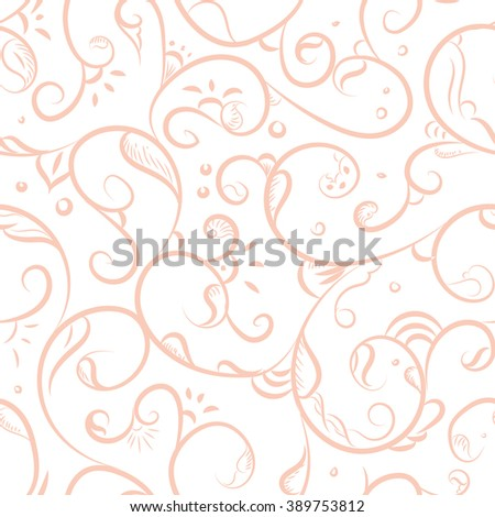 Seamless pattern design with detailed Iznik style floral motifs drawn freehand on digital tablet, elegant flourishes repeating surface pattern for web and print use - raster version - stock photo