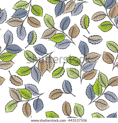 Seamless pattern design with digital drawings of leaves. Nature, ecology, vintage concept shabby chic repeating background for web and print use, raster version - stock photo